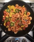 Skillet Shrimp with Chorizo and Squash